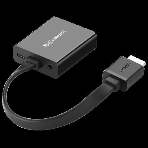 绿联 HDMI转VGA母转换器 带音频 黑色