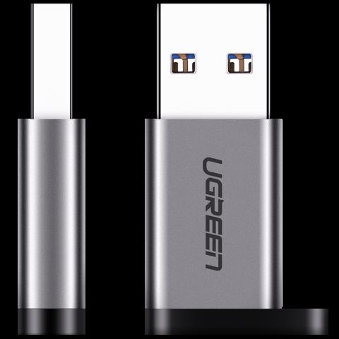绿联 USB A公转TYPE-C母转接头(铝外壳)3.0 灰色