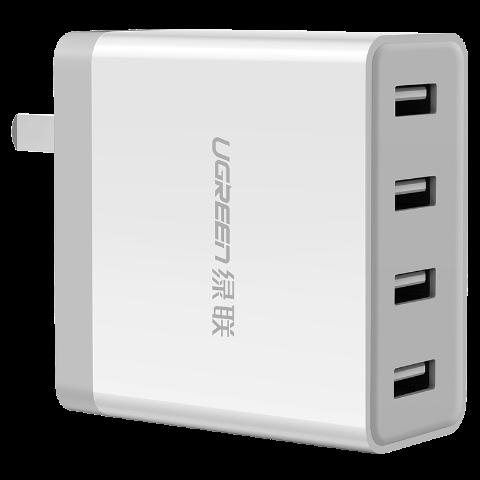 绿联 墙壁式四口6.8A 充电器(折叠脚)白色
