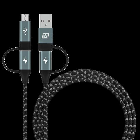 MOMAX Type-C/USB A转Type-C/Micro USB 4合1编织数据线